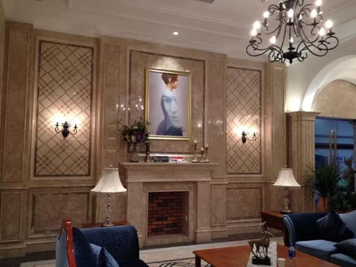 别墅客厅背景墙|大厅背景墙效果图|石材背景墙供应商