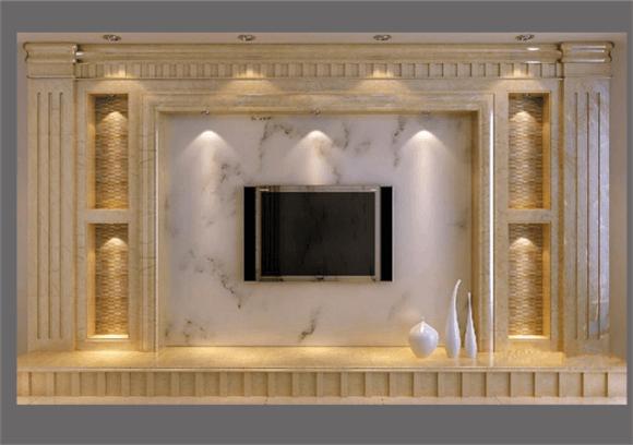 大理石背景墙效果图|爵士白背景墙|武汉瑞成盛世石业