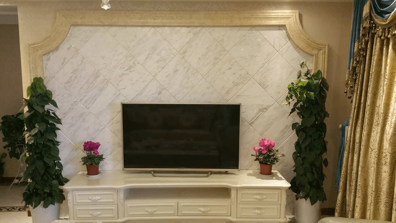 人造圣尔米大理石线条|爵士白大理石客厅背景墙|爵士