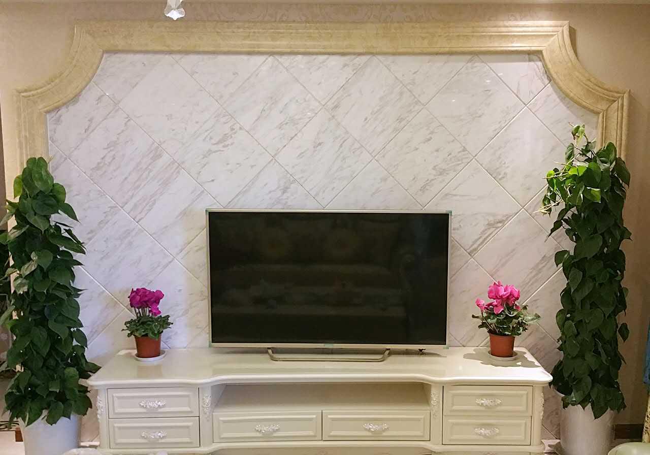 爵士白客厅电视背景墙|爵士白客厅大理石背景墙|爵士