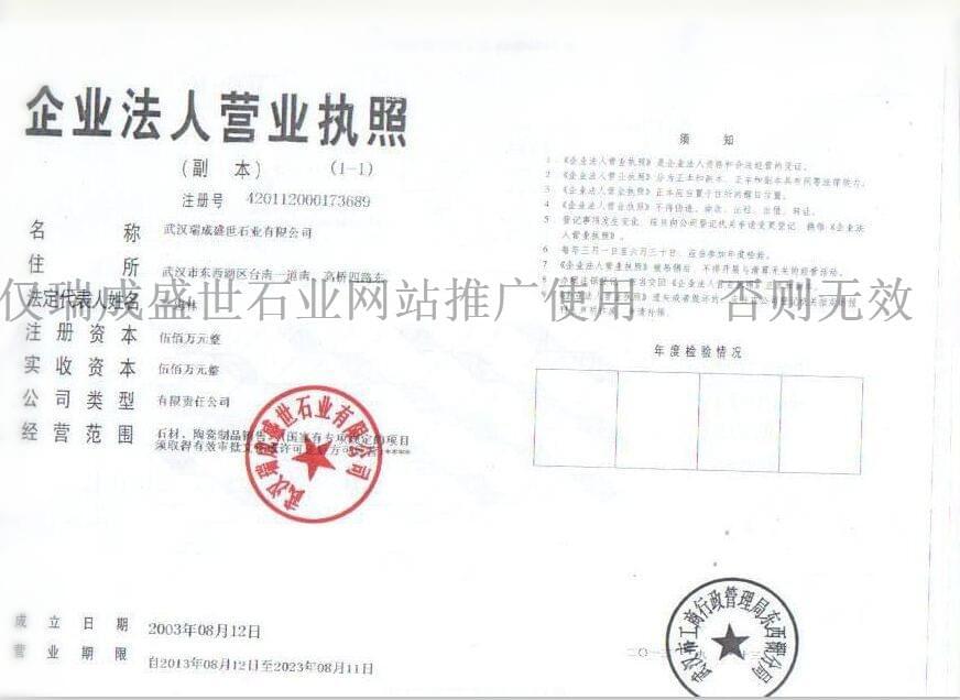 瑞成盛世企业法人营业执照