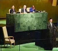 习近平联合国首演,大花绿石材讲台依然如旧