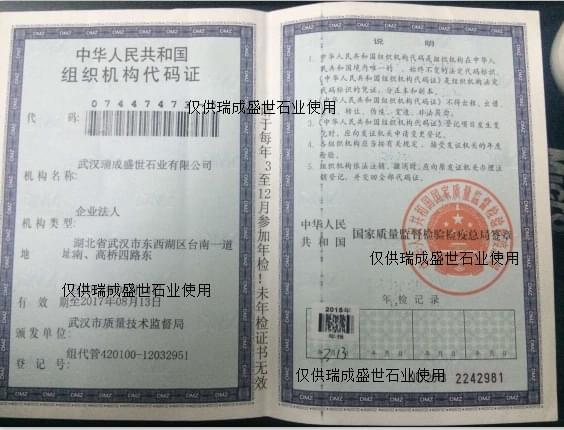 瑞成盛世组织机构代码证