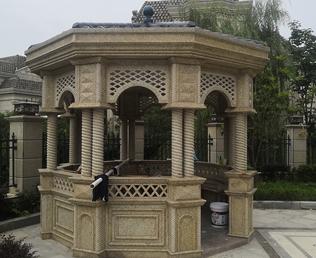 世茂龙湾庭院黄金麻石材