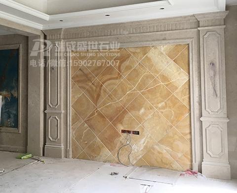 天然玉石背景墙带大理石罗马柱