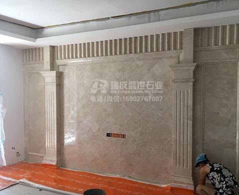 天然大理石背景墙带罗马柱2